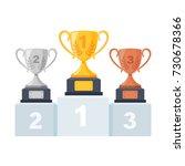 gold  silver  bronze trophy cup ... | Shutterstock .eps vector #730678366