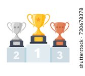 gold  silver  bronze trophy cup ... | Shutterstock .eps vector #730678378