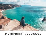 man traveler sitting on... | Shutterstock . vector #730683010