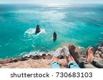 man traveler sitting on... | Shutterstock . vector #730683103