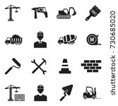 builder icons. black flat... | Shutterstock .eps vector #730685020