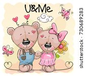 Two Cute Cartoon Bears On...