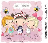 three cute cartoon girls on a... | Shutterstock . vector #730689574