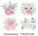 decorative holiday bouquets set ... | Shutterstock .eps vector #730691146
