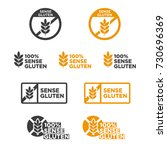 gluten free icon set. written... | Shutterstock .eps vector #730696369