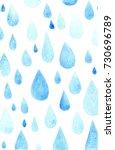 watercolor blue rainy pattern | Shutterstock . vector #730696789