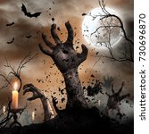 scary halloween background with ... | Shutterstock . vector #730696870