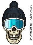 skull in ski goggles and hat.... | Shutterstock .eps vector #730699198