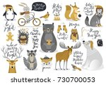 christmas set  hand drawn style ... | Shutterstock .eps vector #730700053