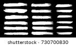 set of hand painted white brush ... | Shutterstock .eps vector #730700830