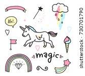 magic colorful set. unicorn ... | Shutterstock . vector #730701790