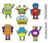 cute cartoon robot | Shutterstock .eps vector #730702000