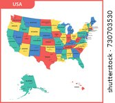 the detailed map of the usa... | Shutterstock .eps vector #730703530