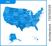 the detailed map of the usa... | Shutterstock .eps vector #730703539