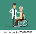 male doctor helps his... | Shutterstock .eps vector #730703788