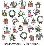 vector linear design christmas...   Shutterstock .eps vector #730704028