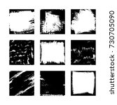 set of 9 square vector black... | Shutterstock .eps vector #730705090