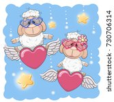 valentine card lovers sheep are ... | Shutterstock . vector #730706314