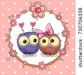 greeting card with two cute... | Shutterstock . vector #730706338