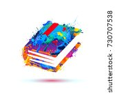 book icon. vector watercolor... | Shutterstock .eps vector #730707538