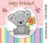 greeting card cute teddy bear... | Shutterstock . vector #730714030