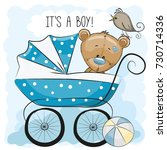 greeting card its a boy with... | Shutterstock . vector #730714336