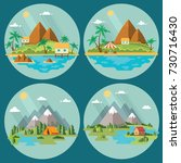 set of beautiful tropical and... | Shutterstock .eps vector #730716430