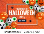 happy halloween banner template ... | Shutterstock .eps vector #730716730