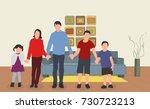 children in the living room | Shutterstock .eps vector #730723213