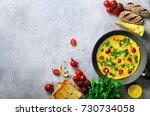 homemade classic omelet with... | Shutterstock . vector #730734058