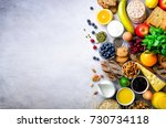 healthy breakfast ingredients ... | Shutterstock . vector #730734118