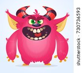 cute cartoon monster. vector... | Shutterstock .eps vector #730736593