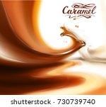 liquid chocolate  caramel or... | Shutterstock .eps vector #730739740