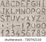 handwritten english alphabet ... | Shutterstock . vector #730742110