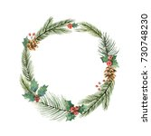 watercolor christmas frame with ... | Shutterstock . vector #730748230