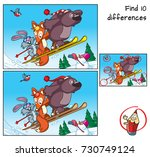 bear  fox and rabbit are... | Shutterstock .eps vector #730749124