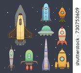 rocket ship in cartoon style.... | Shutterstock . vector #730753609