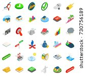 rejected icons set. isometric... | Shutterstock .eps vector #730756189