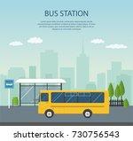 bus stop  vector illustration.  | Shutterstock .eps vector #730756543