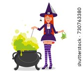 a beautiful witch is brewing a... | Shutterstock .eps vector #730763380