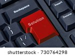 pc keyboard red button with... | Shutterstock . vector #730764298