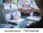 business team working on... | Shutterstock . vector #730766968