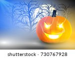 pumpkin glowing in darkness ... | Shutterstock .eps vector #730767928