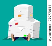 stressed businessman under pile ...   Shutterstock .eps vector #730770559