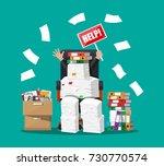 stressed cartoon businessman in ... | Shutterstock .eps vector #730770574