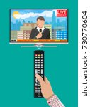modern flat screen tv with news.... | Shutterstock .eps vector #730770604