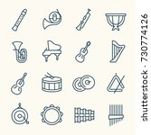 orchestra instruments line icon ... | Shutterstock .eps vector #730774126