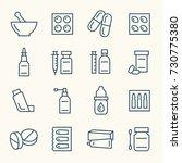 pharmacy line icon set | Shutterstock .eps vector #730775380