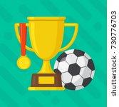 soccer ball with gold winner... | Shutterstock .eps vector #730776703