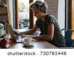 hipster girl is typing emails... | Shutterstock . vector #730782448